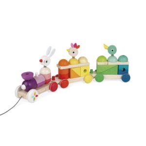 Janod houten blokkentrein dieren speelgoed
